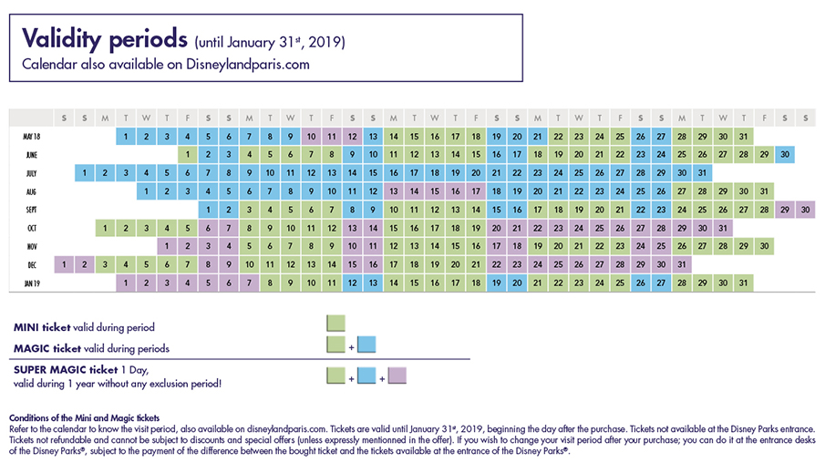 geldigheid tickets disneyland parijs kalender
